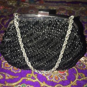 Anne Taylor Black beaded clutch